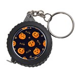 Funny Scary Black Orange Halloween Pumpkins Pattern Measuring Tape Front