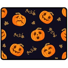 Funny Scary Black Orange Halloween Pumpkins Pattern Fleece Blanket (medium)