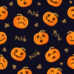 Funny Scary Black Orange Halloween Pumpkins Pattern Magic Photo Cube