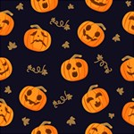 Funny Scary Black Orange Halloween Pumpkins Pattern Magic Photo Cube Side 3