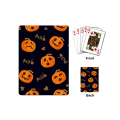 Funny Scary Black Orange Halloween Pumpkins Pattern Playing Cards (mini)