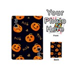 Funny Scary Black Orange Halloween Pumpkins Pattern Playing Cards 54 (Mini) Front - Spade3