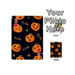 Funny Scary Black Orange Halloween Pumpkins Pattern Playing Cards 54 (Mini) Front - Heart3