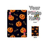 Funny Scary Black Orange Halloween Pumpkins Pattern Playing Cards 54 (Mini) Front - Heart8