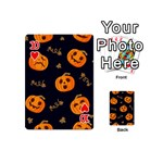 Funny Scary Black Orange Halloween Pumpkins Pattern Playing Cards 54 (Mini) Front - Heart10