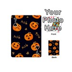 Funny Scary Black Orange Halloween Pumpkins Pattern Playing Cards 54 (Mini) Front - Spade7