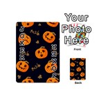Funny Scary Black Orange Halloween Pumpkins Pattern Playing Cards 54 (Mini) Front - Joker1