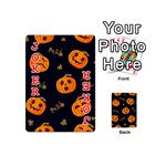Funny Scary Black Orange Halloween Pumpkins Pattern Playing Cards 54 (Mini) Front - Joker2