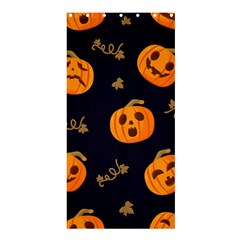 Funny Scary Black Orange Halloween Pumpkins Pattern Shower Curtain 36  X 72  (stall)