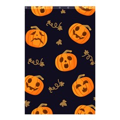 Funny Scary Black Orange Halloween Pumpkins Pattern Shower Curtain 48  X 72  (small)