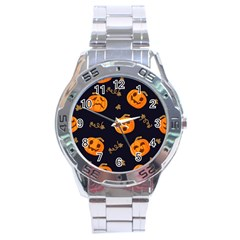 Funny Scary Black Orange Halloween Pumpkins Pattern Stainless Steel Analogue Watch