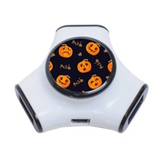 Funny Scary Black Orange Halloween Pumpkins Pattern 3 Port Usb Hub