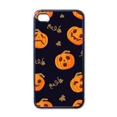 Funny Scary Black Orange Halloween Pumpkins Pattern Apple Iphone 4 Case (black)
