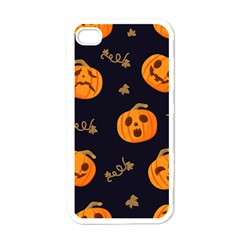 Funny Scary Black Orange Halloween Pumpkins Pattern Apple Iphone 4 Case (white)