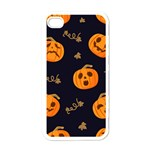Funny Scary Black Orange Halloween Pumpkins Pattern Apple iPhone 4 Case (White) Front