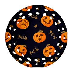 Funny Scary Black Orange Halloween Pumpkins Pattern Round Filigree Ornament (two Sides)