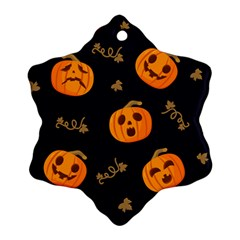 Funny Scary Black Orange Halloween Pumpkins Pattern Snowflake Ornament (two Sides)