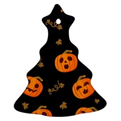 Funny Scary Black Orange Halloween Pumpkins Pattern Christmas Tree Ornament (two Sides)