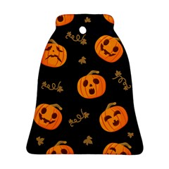 Funny Scary Black Orange Halloween Pumpkins Pattern Bell Ornament (two Sides)