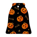 Funny Scary Black Orange Halloween Pumpkins Pattern Bell Ornament (Two Sides) Front