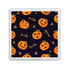 Funny Scary Black Orange Halloween Pumpkins Pattern Memory Card Reader (square)