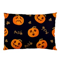 Funny Scary Black Orange Halloween Pumpkins Pattern Pillow Case (two Sides)