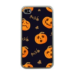 Funny Scary Black Orange Halloween Pumpkins Pattern Apple Iphone 4 Case (clear)