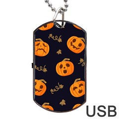 Funny Scary Black Orange Halloween Pumpkins Pattern Dog Tag Usb Flash (two Sides) by HalloweenParty