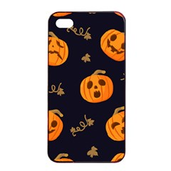 Funny Scary Black Orange Halloween Pumpkins Pattern Apple Iphone 4/4s Seamless Case (black)