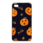 Funny Scary Black Orange Halloween Pumpkins Pattern Apple iPhone 4/4s Seamless Case (Black) Front
