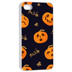Funny Scary Black Orange Halloween Pumpkins Pattern Apple Iphone 4/4s Seamless Case (white)
