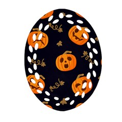 Funny Scary Black Orange Halloween Pumpkins Pattern Oval Filigree Ornament (two Sides)