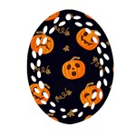 Funny Scary Black Orange Halloween Pumpkins Pattern Oval Filigree Ornament (Two Sides) Front