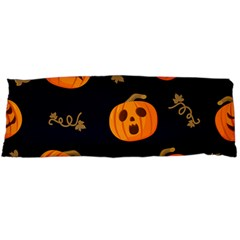Funny Scary Black Orange Halloween Pumpkins Pattern Body Pillow Case (dakimakura)