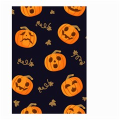 Funny Scary Black Orange Halloween Pumpkins Pattern Small Garden Flag (two Sides)