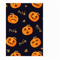 Funny Scary Black Orange Halloween Pumpkins Pattern Large Garden Flag (two Sides)