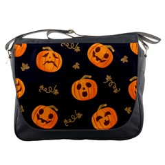 Funny Scary Black Orange Halloween Pumpkins Pattern Messenger Bag