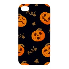 Funny Scary Black Orange Halloween Pumpkins Pattern Apple Iphone 4/4s Premium Hardshell Case