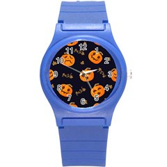 Funny Scary Black Orange Halloween Pumpkins Pattern Round Plastic Sport Watch (s)