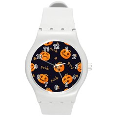 Funny Scary Black Orange Halloween Pumpkins Pattern Round Plastic Sport Watch (m) by HalloweenParty