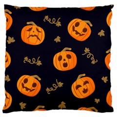 Funny Scary Black Orange Halloween Pumpkins Pattern Large Cushion Case (two Sides)