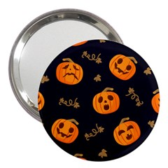 Funny Scary Black Orange Halloween Pumpkins Pattern 3  Handbag Mirrors