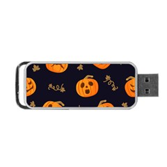 Funny Scary Black Orange Halloween Pumpkins Pattern Portable Usb Flash (one Side)