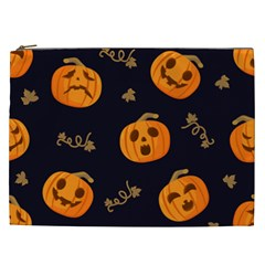 Funny Scary Black Orange Halloween Pumpkins Pattern Cosmetic Bag (xxl)