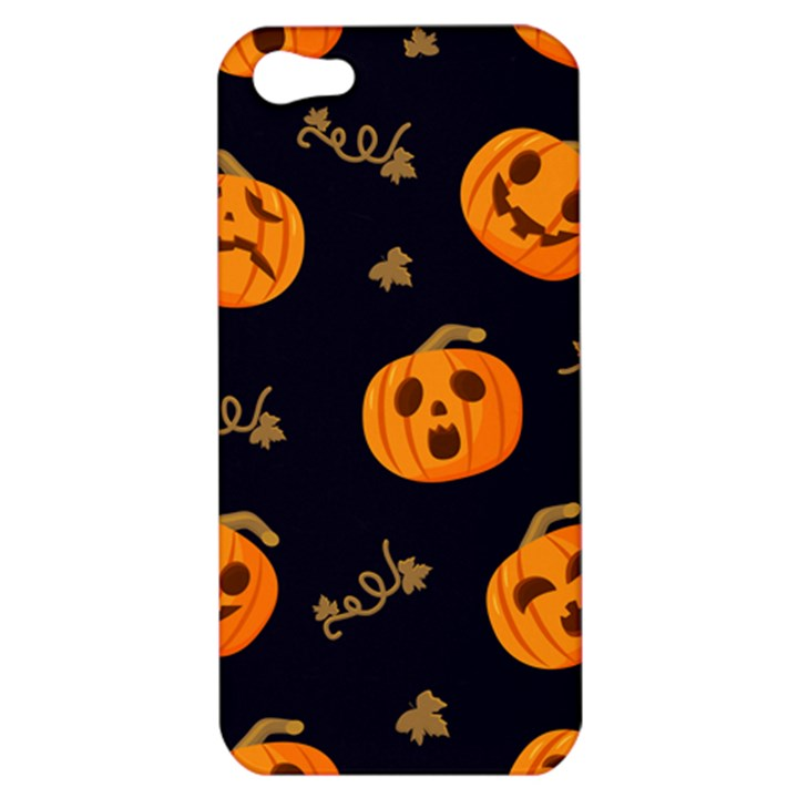 Funny Scary Black Orange Halloween Pumpkins Pattern Apple iPhone 5 Hardshell Case
