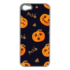 Funny Scary Black Orange Halloween Pumpkins Pattern Apple Iphone 5 Case (silver)