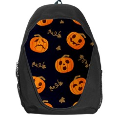 Funny Scary Black Orange Halloween Pumpkins Pattern Backpack Bag