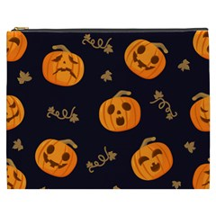 Funny Scary Black Orange Halloween Pumpkins Pattern Cosmetic Bag (xxxl)