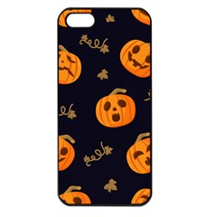 Funny Scary Black Orange Halloween Pumpkins Pattern Apple Iphone 5 Seamless Case (black)