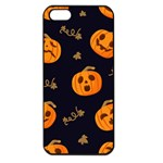 Funny Scary Black Orange Halloween Pumpkins Pattern Apple iPhone 5 Seamless Case (Black) Front